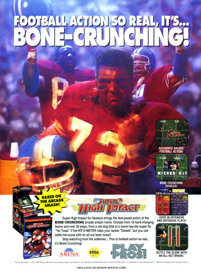 Super High Impact Football Game Sega Genesis Arcade Ad Advertisement Scan - 1992