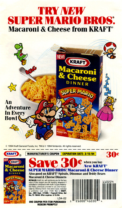 Kraft Super Mario Bros. Macaroni and Cheese flier flyer Advertisement 1994