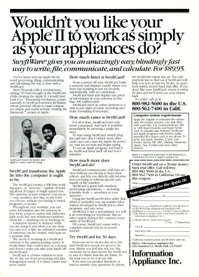 Jef Raskin Steve Wozniak Information Appliance Swyft Card SwyftCard Apple II advertisement  - Personal Computing - March 1986