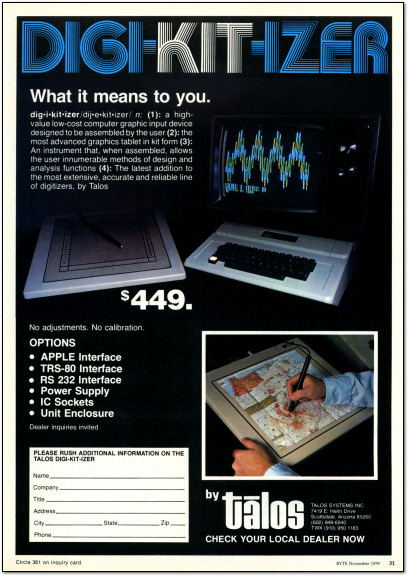 Talos Digi-Kit-Izer Digikitizer Ad - Byte 1979