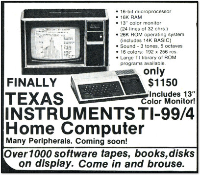 Texas Instruments TI-99/4 Ad - BYTE 1979