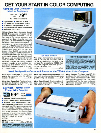 Radio Shack TRS-80 MC-10 micro color computer catalog page - 1984