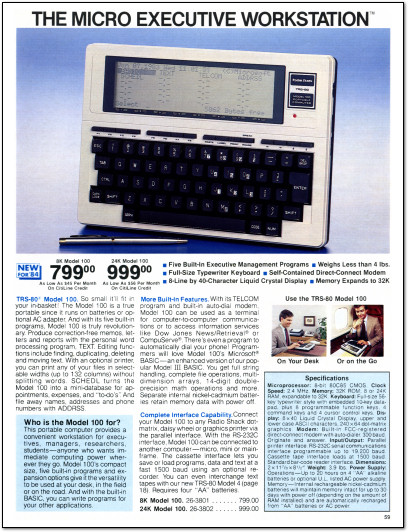 1980s iPad - TRS-80 Model 100 Catalog Page - 1984