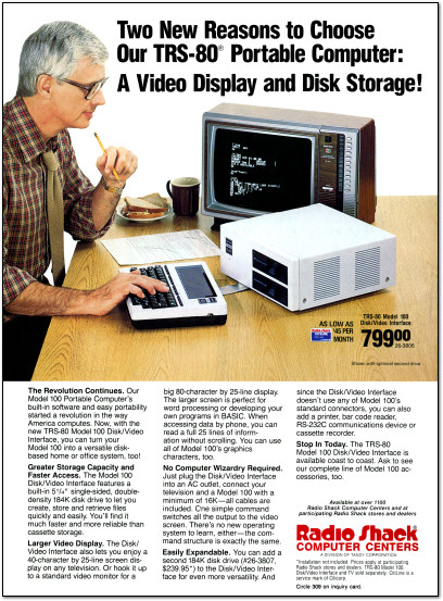 Radio Shack TRS-80 Model 100 Disk-Video Interface Ad - 1984
