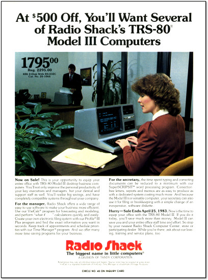 TRS-80 Model III Office Magazine Ad - 1983
