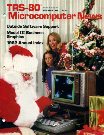TRS-80 Color Computer Santa Claus Christmas Xmas vintage computer TRS-80 Microcomputer News magazine cover - 1982