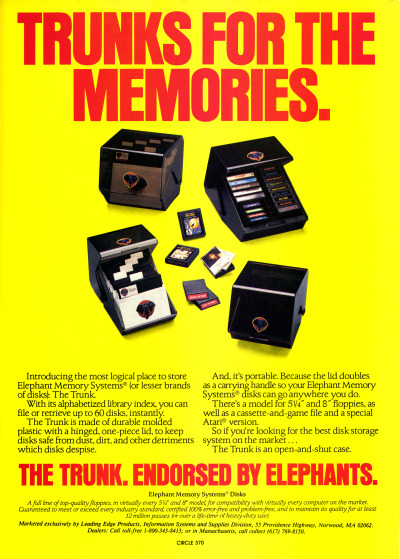 Elephant Memory Systems Trunk Floppy Disk Storage Box ad - 1983
