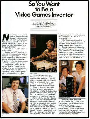 So You Want to Be a Video Games Inventor