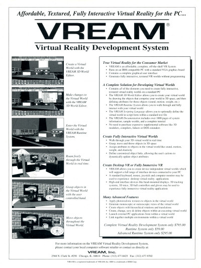 VREAM Virtual Reality Development System for PC Advertisement Scan - 1994