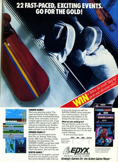 Epyx Winter Games Summer Games Summer Games II Advertisement 1985