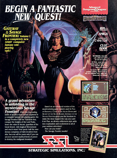 SSI AD&D Forgotten Realms Gold Box Gateway to the Savage Frontier RPG sexy sorceress legs advertisement scan - 1991