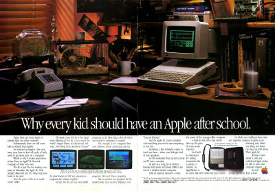 Apple IIc Apple //c Computer Kids Bedroom After School advertisement scan - 1985
