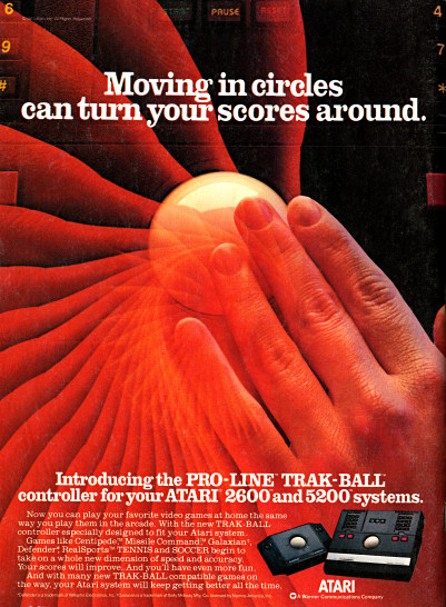Atari 5200 and Atari 2600 Trak-Ball advertisement scan - 1983